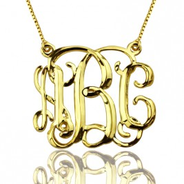 Custom Cube Monogram Initials Necklace 18ct Gold Plated