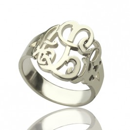 Personalised Hand Drawing Monogrammed Ring Silver