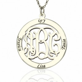 Personalised Family Monogram Name Necklace Sterling Silver