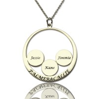Personalised Family Name Pendant For Mom Silver