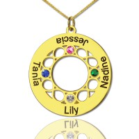 Infinity Birthstone Family Names Necklace In 18ct Gold Plated