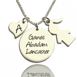 Mother Necklace Gift With Kids Name Charm Sterling Silver