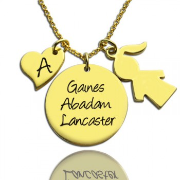 Family Names Pendant For Mother With Kids Charm In 18ct Gold Plated