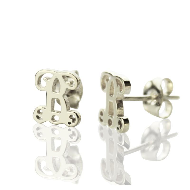 101818d35 Personalised Single Monogram Stud Earrings Sterling Silver