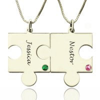 Engraved Puzzle Necklace for Couples Love Necklaces Silver