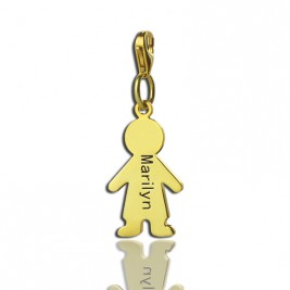 Personalised Boy Pendant Necklace With Name 18ct Gold Plated