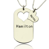 Couples Name Dog Tag Necklace Set with Cut Out Heart