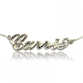 Personalised 3D Carrie Name Necklace Sterling Silver