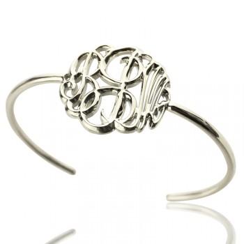 Personalised Monogram Bangle Bracelet Hand-painted Silver