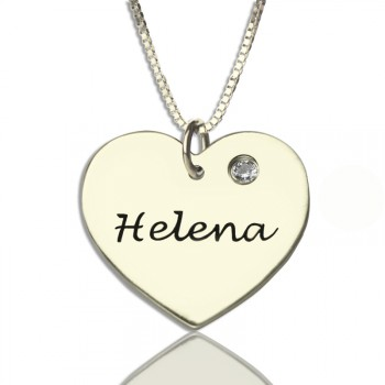 Sterling Silver Simple Heart Name Necklace with Birthstone