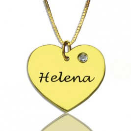 Simple Heart Necklace with Name  Birhtstone 18ct Gold Plated