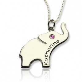Good Luck Gifts - Elephant Necklace Engraved Name