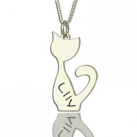 Personalised Cat Name Charm Necklace in Silver