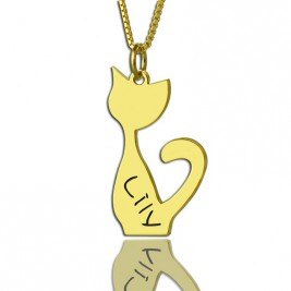 Custom Cat Name Pendant Necklace 18ct Gold Plated Over