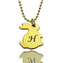 Tiny Rabbit Initial Charm Necklace 18ct Gold Plated