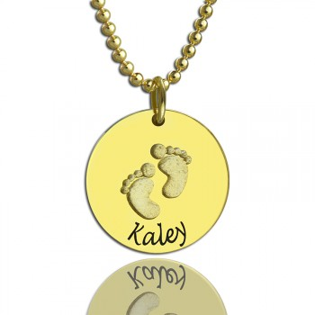 Personalised Baby Footprints Name Necklace 18ct Gold Plated