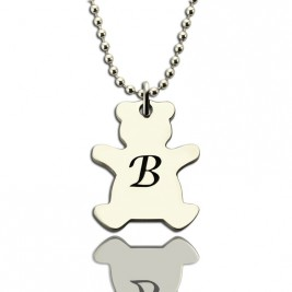 Personalised Teddy Bear Initial Necklace Sterling Silver