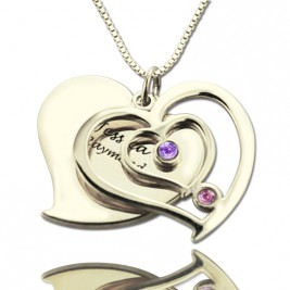 Personalised Couples Birthstone Heart Name Necklace