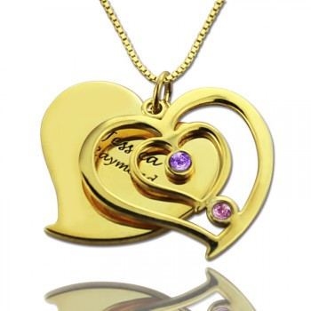 His  Her Birthstone Heart Name Necklace 18ct Gold Plated
