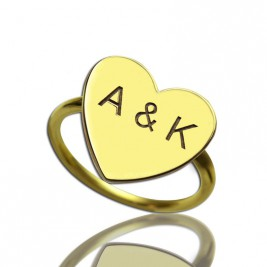 Engraved Sweetheart Ring with Double Initials 18ct Gold Plated