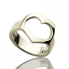 Personalised Couple's Name Promise Heart Ring Silver
