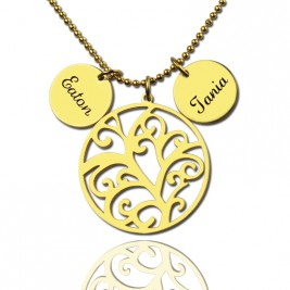 Family Tree Necklace With Name Charm For Mom