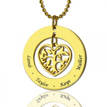 Circle Family Tree Pendant Necklace In 18ct Gold Plated