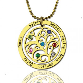 Family Tree Birthstone Necklace In 18ct Gold Plated