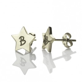 Personalised Star Stud Initial Earrings In Silver