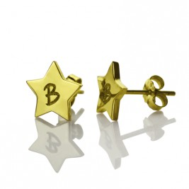 Star Stud Initial Earrings In Gold
