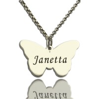 Personalised Charming Butterfly Pendant Name Necklace Silver