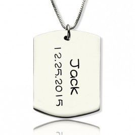 Personalised ID Dog Tag Bar Pendant with Name and Birth Date Silver