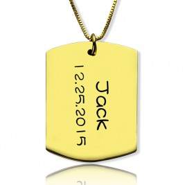 ID Dog Tag Bar Pendant with Name and Birth Date Gold Plated Silver