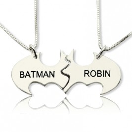 Batman Best Friend Name Necklace Sterling Silver