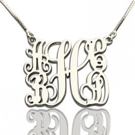 Customised 5 Initials Family Monogram Necklace Silver