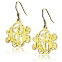 Script Monogram Initial Earrings 18ct Gold Plated