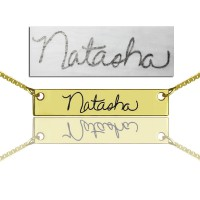 Custom Necklace Signature Bar Necklace Handwritring 18ct Gold Plated