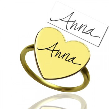 Gold Heart Signet Ring With Your Signature