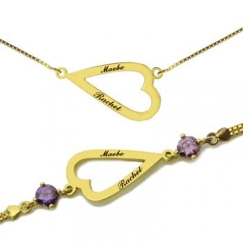 Open Heart Love Necklace  Bracelet Engraved Name