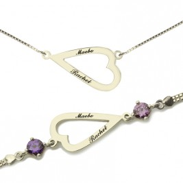 Love Jewellery Set- Open Heart Name Necklace  Bracelet