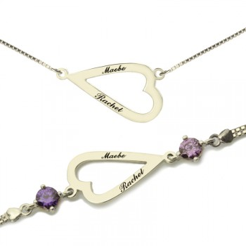Love Jewellery Set- Open Heart Name Necklace  Bracelet