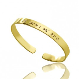 Engravable Latitude Longitude Coordinate Cuff Bangle 18ct Gold Plated