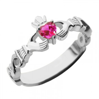 Ladies Claddagh Rings With Birthstone  Name White Gold Plated Silver