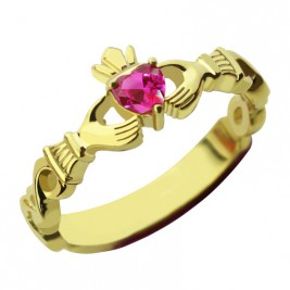 Ladies Modern Claddagh Rings With Birthstone  Name Gold Plated