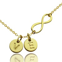 Infinity Necklace With Disc Initial Charm 18ct Gold Plated