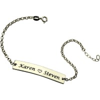Engraved Name Bar Bracelet For Her Sterling Silver