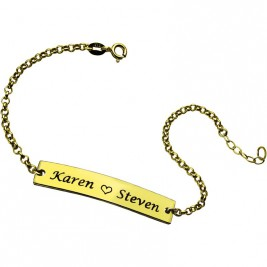 Couple Bar Bracelet Engraved Name 18ct Gold Plated
