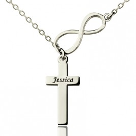 Infinity Cross Name Necklace Sterling Silver