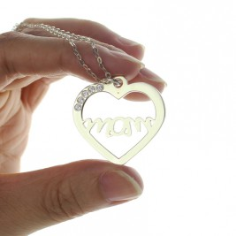 Mothers Birthstone Heart Necklace Sterling Silver