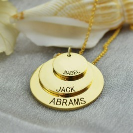Disc Necklace With Kids Name For Mom 18ct Gold Plated